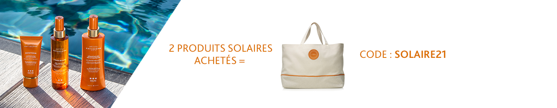 Pour l'achat de deux produits solaires, recevez un sac solaire en cadeau