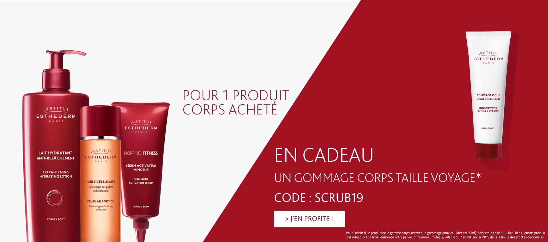 Offre du mois : 1 gommage corps taille voyage offert pour l'achat d'un produit de la gamme corps avec le code : SCRUB19