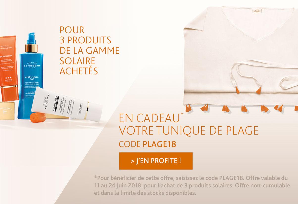 Offre juin : pour 3 produits solaires achetés 1 tunique de plage offerte
